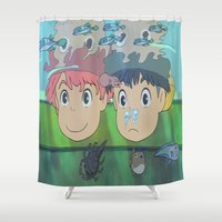ponyo Shower Curtains featuring Ponyo by Susan Lewis