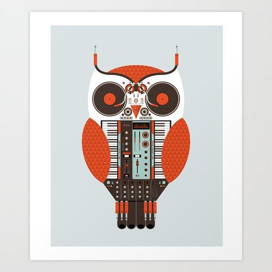 DJ Owl Art Print