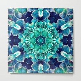 Turquoise Succulents Mandala Metal Print