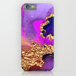 Gold Star Dust Wrapped in Blue, Purple and Pink Abstract iPhone Case