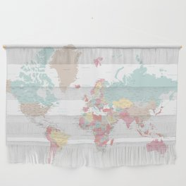 Pastel world map with cities Wall Hanging