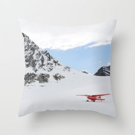 Small Plane Beside a Snow Covered Mountain Throw Pillow