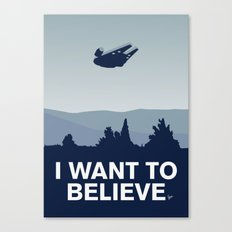 My I want to believe minimal poster-millennium falcon Canvas Print