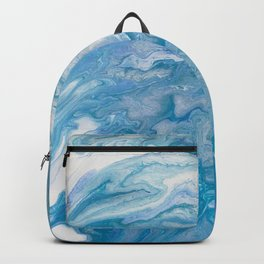 Icy Blue World: Acrylic Pour Painting Backpack