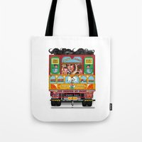 truck Tote Bags featuring TRUCK ART by urvi
