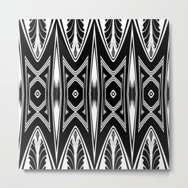 Tribal Black and White African-Inspired Pattern Metal Print