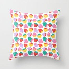 Minimalist Scandinavian Strawberries in White Throw Pillow