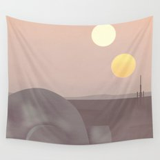 Retro Travel Poster Series - Star Wars - Tatooine Wall Tapestry