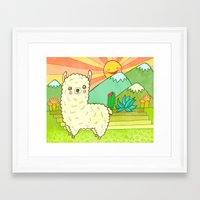 alpaca Framed Art Prints featuring Alpaca by My Zoetrope
