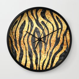 Gold Mosaic Stripes Wall Clock