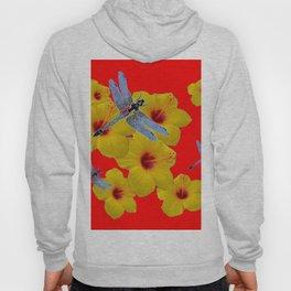 YELLOW HIBISCUS BLUE DRAGONFLIES RED ART Hoody