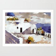 Greek Island Patio Scene Art Print