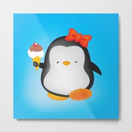 ice cream penguin Metal Print