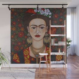 Frida with butterflies Wall Mural