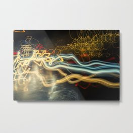 City Gold Light Fantastic Painted Abstract Metal Print