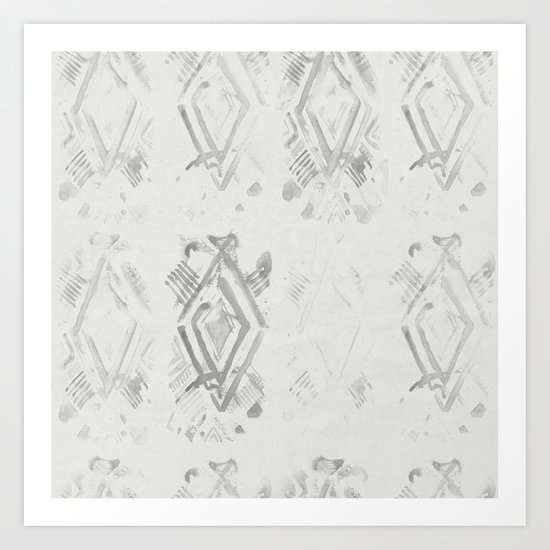 Simply Ikat Ink in Lunar Gray Art Print