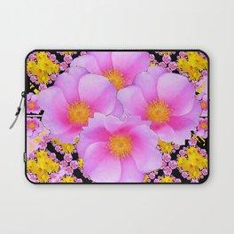Asymmetrical Black-Pink Wild Rose Floral Pattern Laptop Sleeve