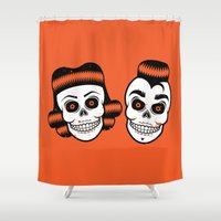 rockabilly Shower Curtains featuring Spooky Rockabilly Skulls. by sparganum