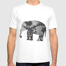Elephant (The  Living Things Series)  MEDIUM White Mens Fitted Tee