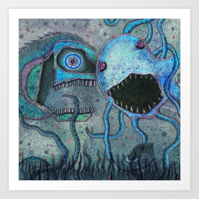 Scary Fish Art Print