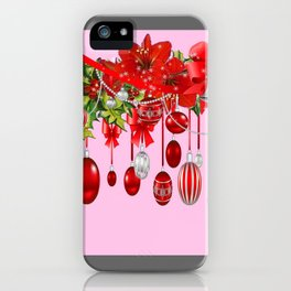 AMARYLLIS FLOWERS & HOLIDAY ORNAMENTS FLORAL PINK ART iPhone Case