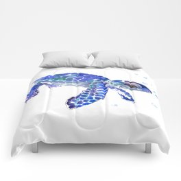 Cute Blue Baby Sea Turtle. children illustration, turtle art Comforters