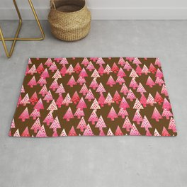 Modern Flower Christmas Trees, Coral Pink and Brown Rug