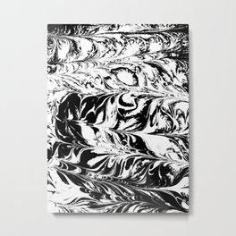 Marble black and white 2 Suminagashi watercolor pattern art pisces water wave ocean minimal design Metal Print