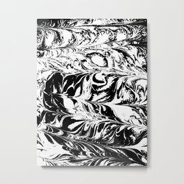 Marble black and white 2 Suminagashi watercolor pattern art pisces water wave ocean minimal design Metal Print