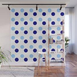 new polka dot 15- blue Wall Mural