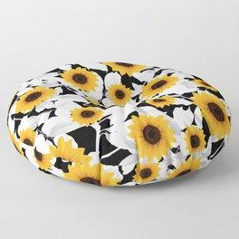 Black & white sunflower Floor Pillow