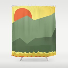 Orange vector sun over horizont Shower Curtain