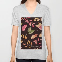 Pink orange yellow brown watercolor fall acorn leaves Unisex V-Neck
