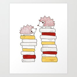 Hedgehogs on Books Art Print