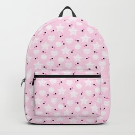 Baby pink pattern with stars and hearts Backpack