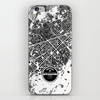 barcelona iPhone & iPod Skins featuring Barcelona by Maps Factory