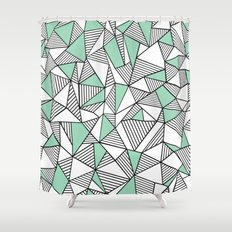 Abstraction Lines with Mint Blocks Shower Curtain