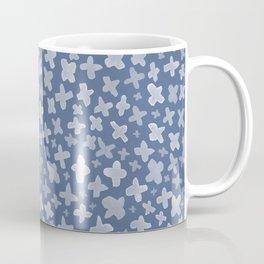 White Flowers on Blue Coffee Mug
