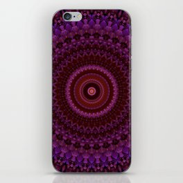 Mandala in pink, red and violet tones. iPhone Skin