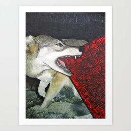 blood and guts wolf Art Print