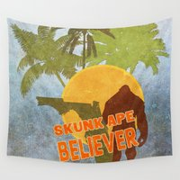 ape Wall Tapestries featuring Florida's Skunk Ape by Heather Green