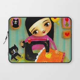 Little sewing girl with black cat Laptop Sleeve