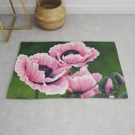 Pretty Pink Poppies Rug