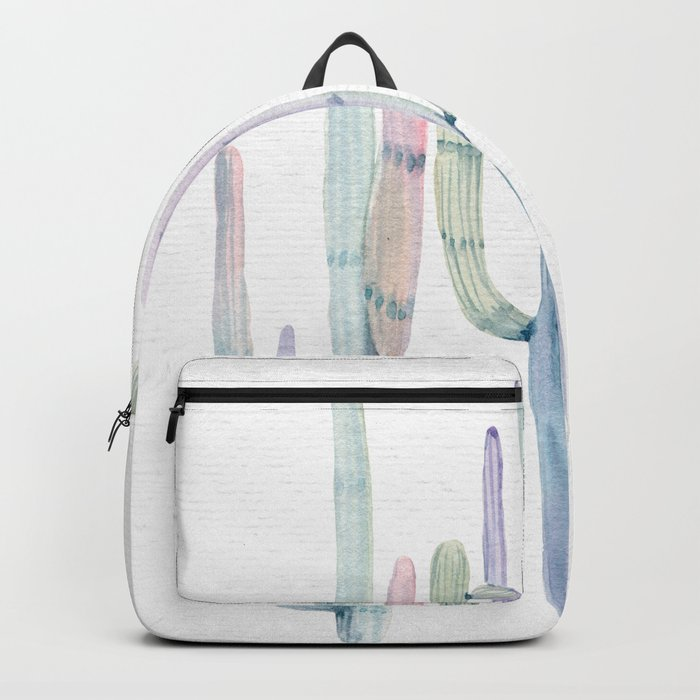 Cactus Trio Turquoise Purple Watercolor by Nature Magick Backpack