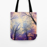 bebop Tote Bags featuring Snow Angel's View - Nature's Painting (color 2) by soaring anchor designs
