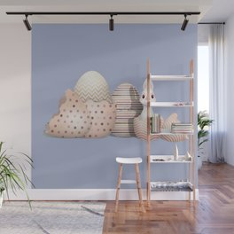 Kawaii Easter - Bunny hatching from Golden Colored Easter Eggs - light blue background Wall Mural