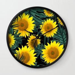 Tropical Sunflower Jungle Night Leaves Pattern #1 #tropical #decor #art #society6 Wall Clock