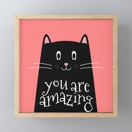 You are amazing word in Cute Cat Framed Mini Art Print