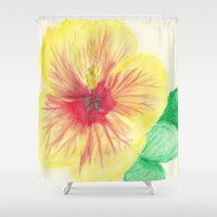hibiscus Shower Curtains featuring Hibiscus by merialayne