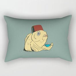 Time for a Cuppa (blue-gray background) Rectangular Pillow